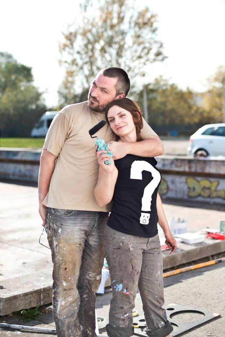 Michał Pałasz i Aleksandra Toborowicz #Audiomural NCK, #Mural #Kraków – #NowaHuta, Październik 2013, projekt: #AleksandraToborowicz, koordynacja: #MichalPalasz foto: #EdytaDufaj