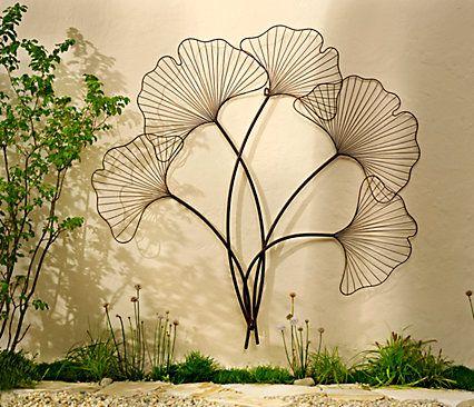 Elegant Wanddeko Ginkgo aus Metall