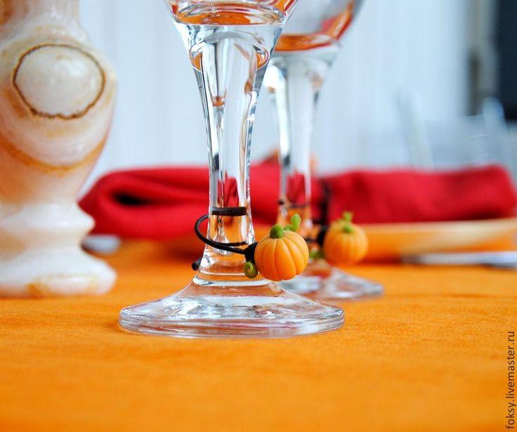 Купить Съемные украшения для бокалов - Тыковки - оранжевый, сервировка стола, украшения для сервировки, украшение для стола