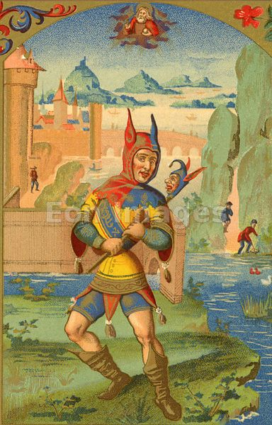 """A horned Fool with horned hood and devilish marotte, from the """"Cosmographie Universelle"""" of Munster: folio (Basle, 1552). Image date: ca. 1874."""