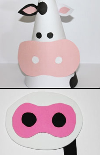 Instructions for a DIY cow hat and mask for a farm-themed party