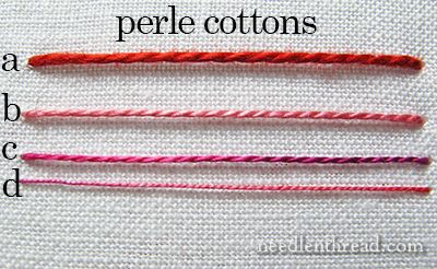Cotton Embroidery Thread Comparisons via Mary Corbet  a – size 3 b – size 5 c – size 8 d – size 12