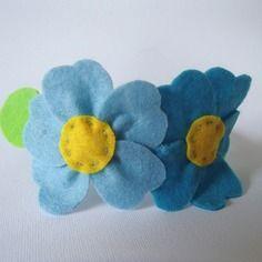 Cerchietto in raso con fiore in pannolenci bambina/donna azzurro, giallo, verde