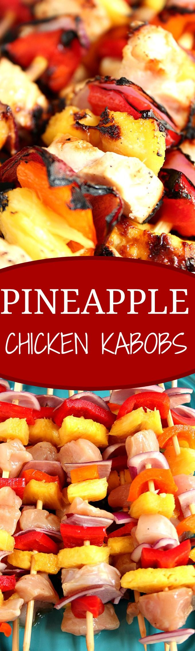 Pineapple Chicken Kabobs recipe - sweet and sour marinated chicken, colorful bell peppers, sweet red onion and juicy pineapple make these kabobs a great quick and easy summer dinner idea!