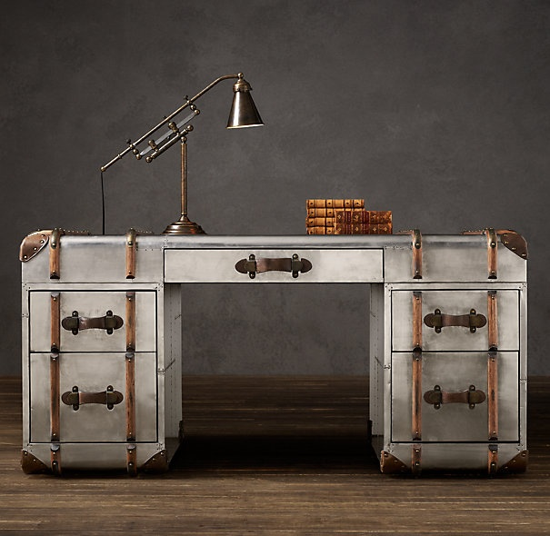 Richards metal trunk desk by timothy oulton at restoration for Bureau hardware