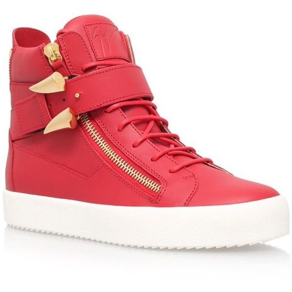 Giuseppe Zanotti Shark Tooth High-Top Sneaker ($905) ❤ liked on Polyvore featuring men's fashion, men's shoes, men's sneakers, mens buckle shoes, mens high top shoes, giuseppe zanotti mens sneakers and mens high top sneakers