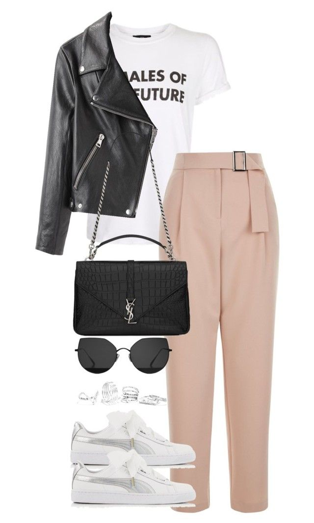 """Untitled #3823"" by theeuropeancloset on Polyvore featuring Topshop, Puma, Gentle Monster, Acne Studios, Yves Saint Laurent and GUESS"