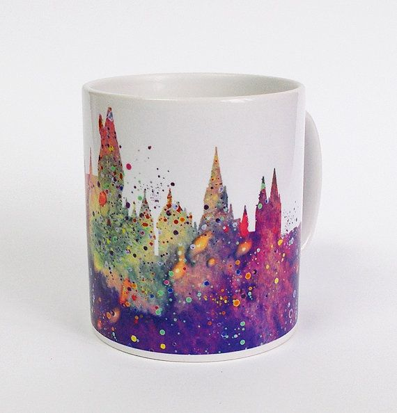 Hogwarts Castle Mug Harry Potter Mug Watercolor Art by ArtsPrint