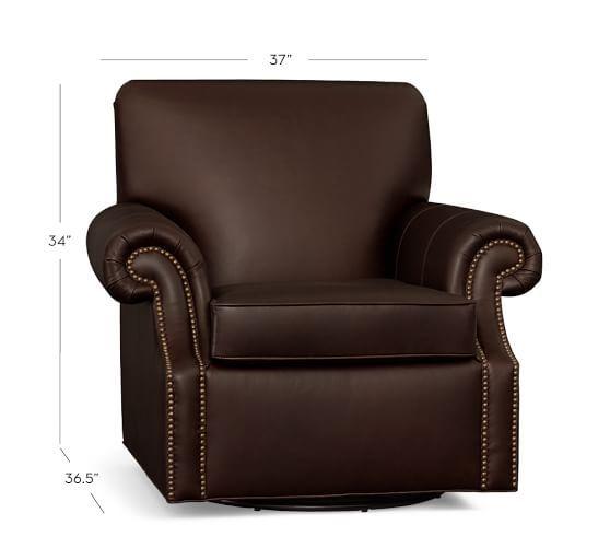 Brooklyn Leather Swivel Armchair #potterybarn