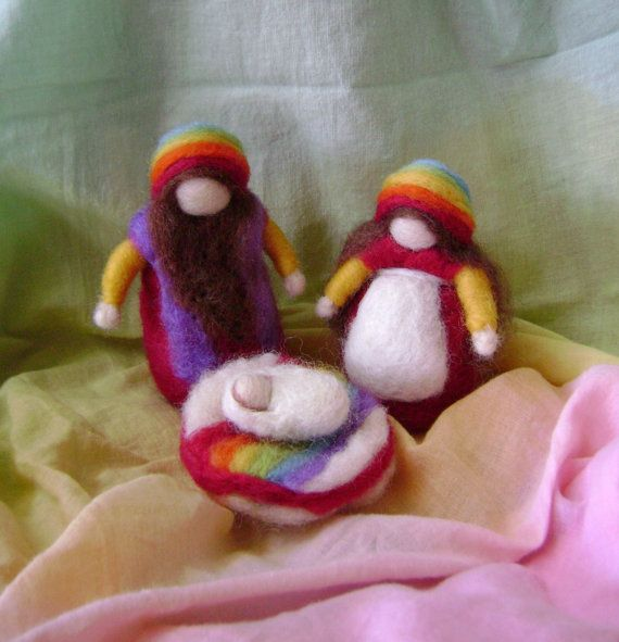 Soft Earth Art: Summer Time means Rainbows - Needle felted wool  figures via Etsy