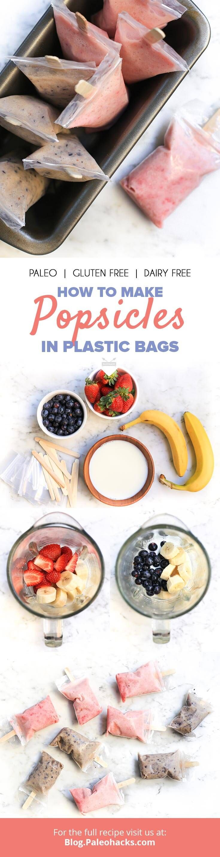 If you love popsicles but don't happen to own a popsicle mold,  don't worry. With these practical popsicles in plastic bags, you can  easily make your own sans mold! Get the recipe here: http://paleo.co/popsiclesinbags