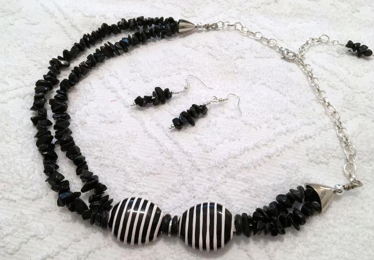 BLACK ONYX Necklace ~ Double strand statement necklace ~ Zebra stripe accent Beads ~ Wedding accessory, Bridal Jewelry, One of a Kind ~ Gift by CJsJewelryWorks on Etsy