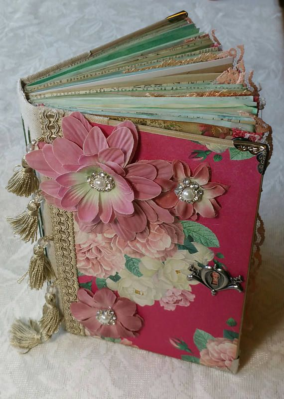 Vintage Junk Journal, Large, Chunky, Shabby Chic, Diary, altered book, flowers, pink, handmade, gift, birthday, tsunamirose, ephemerasgarden