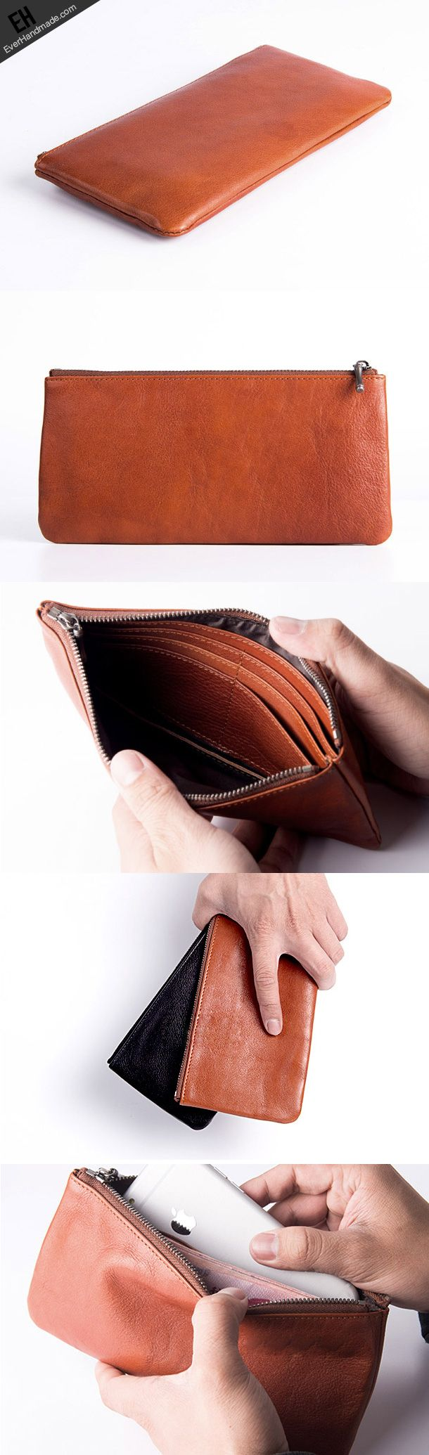 Handmade long wallet leather men phone zip clutch vintage wallet for