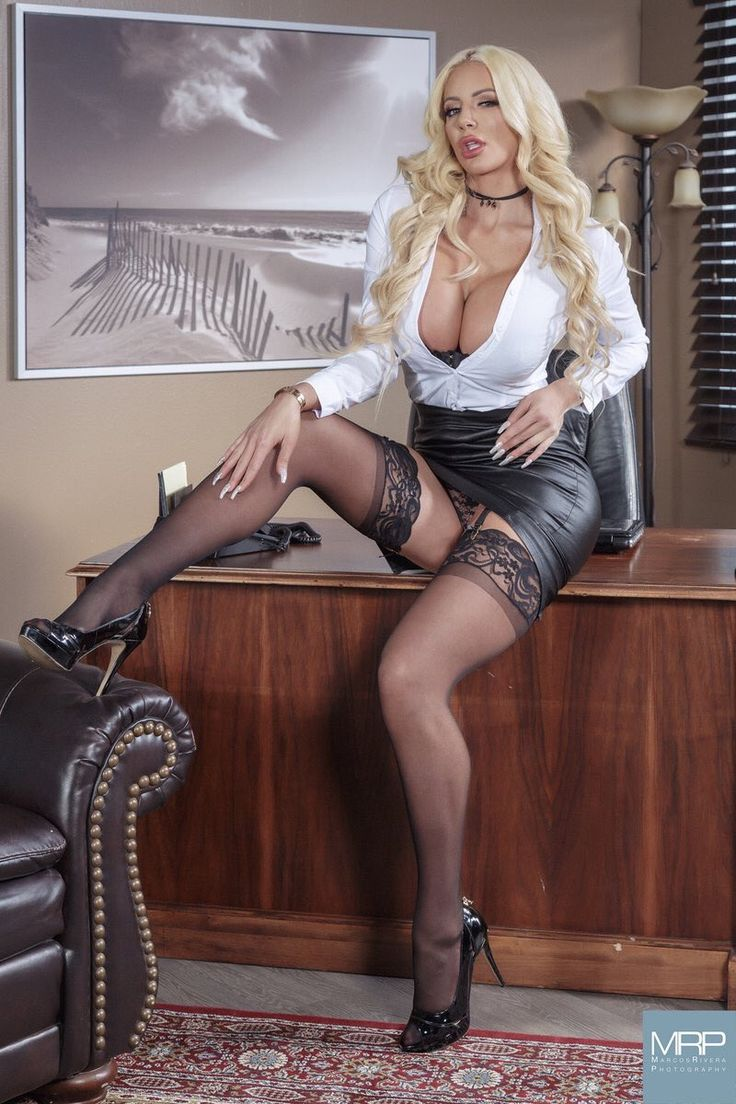Nicolette Shea  Leather Pencil Skirt, Sexy Stockings-2127