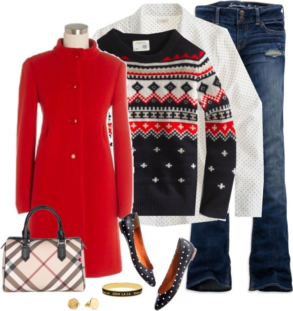 """fair isle and dots"" by shopwithm ❤ liked on Polyvore"
