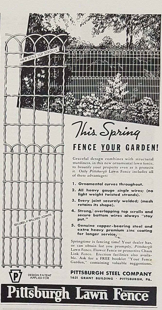 1939 Pittsburgh Steel Company Vintage Ad - Ornamental Lawn Fence