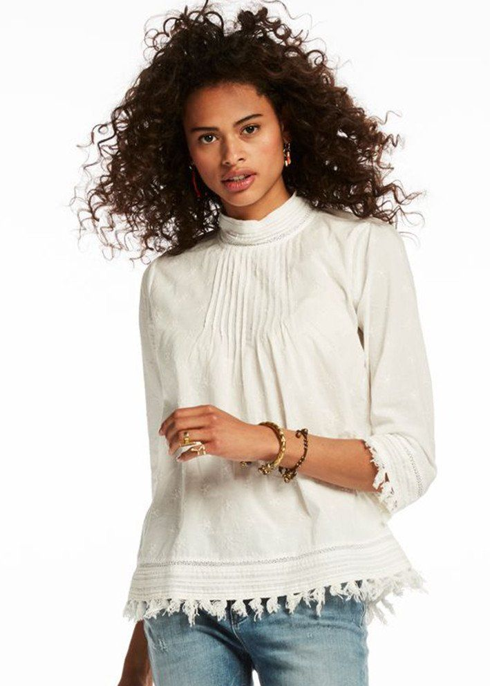 Bluse cremehvid 132617 Embroidered Fringed Top - off white