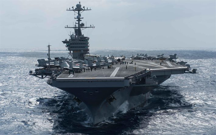 Download wallpapers USS Theodore Roosevelt, nuclear-powered aircraft carrier, CVN-71, ocean, warship, front view, US Navy, USA