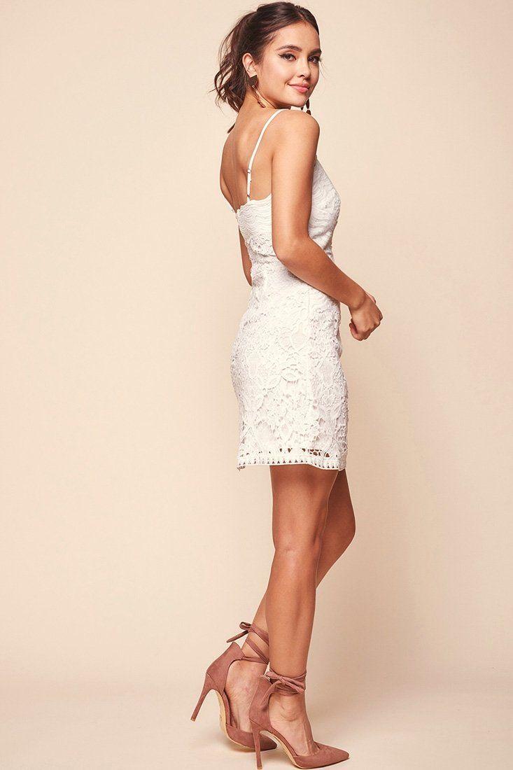 aa127b90657e Zahara Lace Overlay Thin Strap Mini Dress White