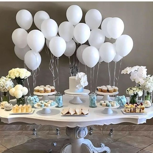 Best 25 baptism centerpieces ideas on pinterest baptism for Balloon decoration ideas for christening