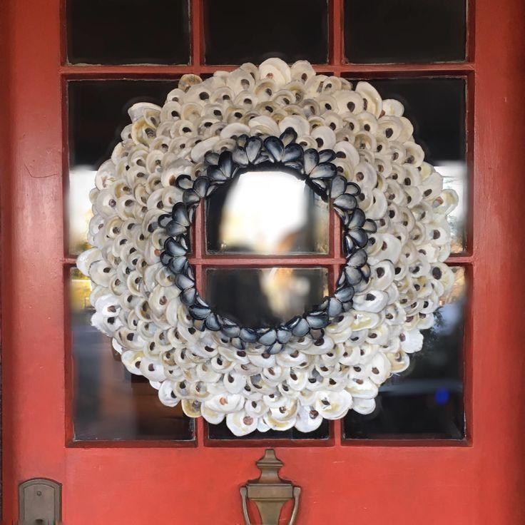 Oyster Shell Wreath - Nautical Wreath 23in - Seashell Wreath - Year Round Wreath -  Beach Wreath - Front Door Wreath - Coastal Wreath by CoastalCornucopia on Etsy https://www.etsy.com/listing/491078722/oyster-shell-wreath-nautical-wreath-23in