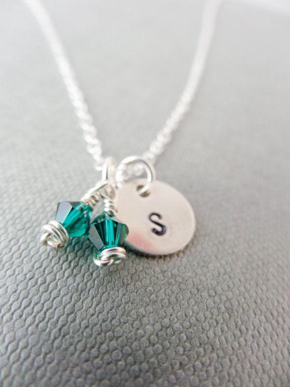 Birthstone initial necklace Emerald birthstone by SilverZoo