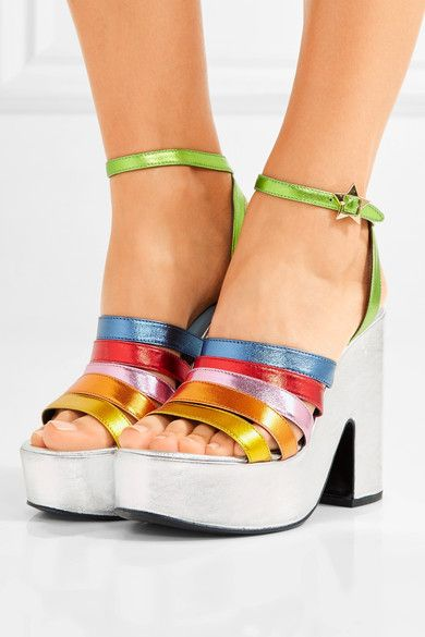 Heel measures approximately 130mm/ 5 inches with a 50mm/ 2 inches platform Multicolored leather Buckle-fastening ankle strap Designer color: Rainbow MetallicSmall to size. See Size & Fit notes.As seen in The EDIT magazine