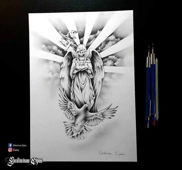 Tattoo Sketch, Religious Tattoo, Angel Drawing, God Bird