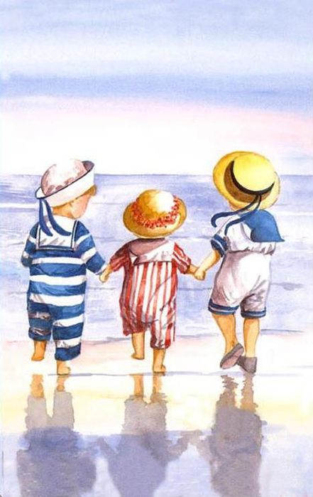 Aren't these nautical outfits just adorable?  So cute.  By British artist Faye Whittaker who has a wide range of nostalgic watercolors, produced as cards, cross stitch, prints and various other products.  She was born in 1966 and loves to paint children of a bygone era.