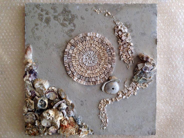 'Lunamare' - Mosaic by Ilaria_DS Murble&seashells, contemporary technique 40*40 cm Italy