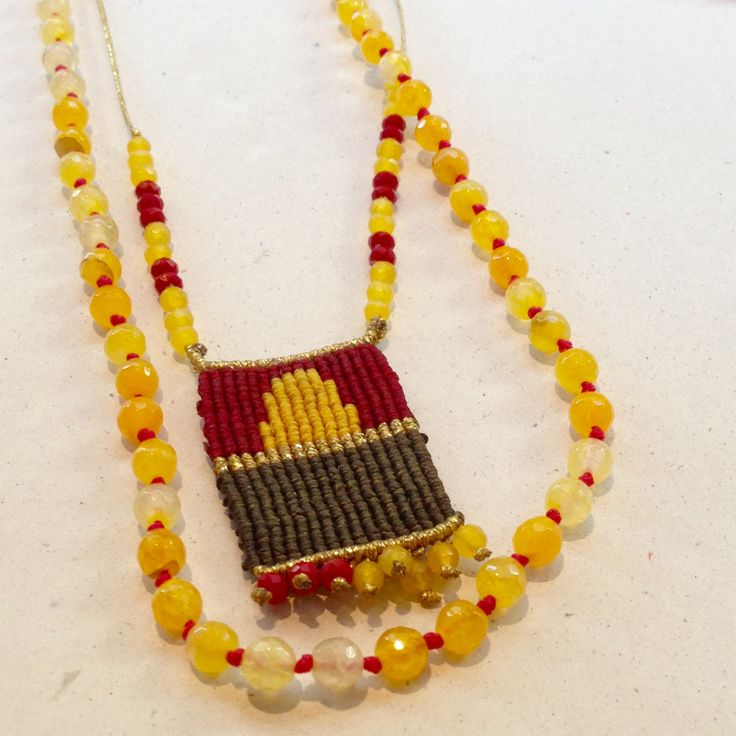 Macrame necklace set with a yellow agate stone necklace, semi-precious jewelry, semi-precious necklace, semi-precious macrame jewelry by MardijewelryStore on Etsy