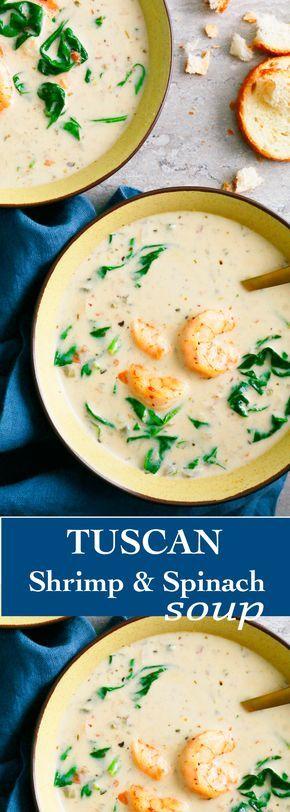 tuscan soup| quick shrimp soup |fall soup | spinach soup | easy shrimp soup | italian shrimp soup | creamy shrimp soup