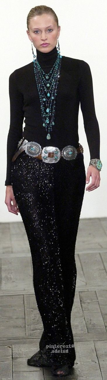 Ralph Lauren ~ Fall Black Maxi Skirt, 2015 - don't like the necklace but love the rest.
