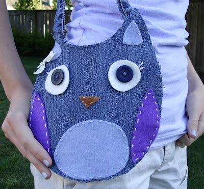 Crafts+with+Denim   Using an old pair of denim jeans, you can create your own cute owl ...