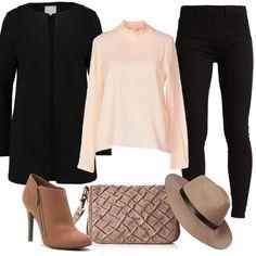 Per il tempo libero, di giorno o di sera, ho scelto questo look. Jeggings black alla caviglia, blusa rosa con collo con fiocco, cappotto corto black, borsa a tracolla powder, tronchetti dark brown e splendido cappello. Sarete davvero chic senza spendere tantissimo.