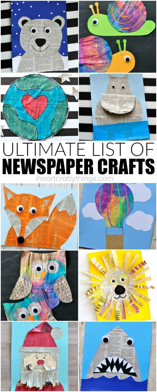 Here is the ultimate list of newspaper craft ideas for kids. Whether you have already discovered how much you love crafting with newspaper or it's something you would love to try for the first time, this amazing list will give you ideas galore of wonderful newspaper craft ideas. #artprojectsforkids #newspaper #mixedmediaart #kidscraft #kidcrafts #papercraft #iheartcraftythings