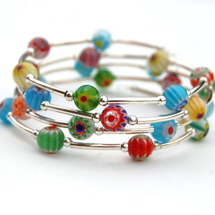 memory wire braclets | Multi Colored Millefiori and Silver Memory Wire Bracelet, Beaded ...