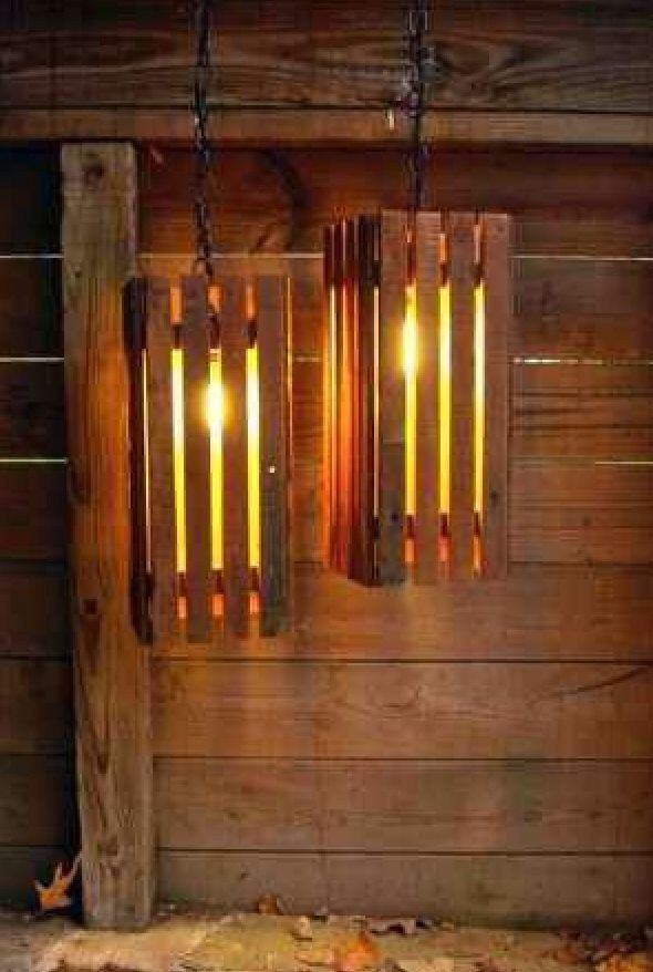 Homemade Hanging Lamps made from Pallet Wood.