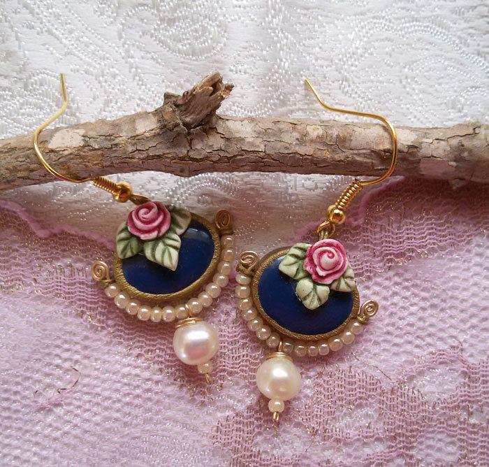 Blue dangle earrings. vintage style earrings with rose and pearl. romantic earrings. blue earrings. shabby chic earrings. oval earrings