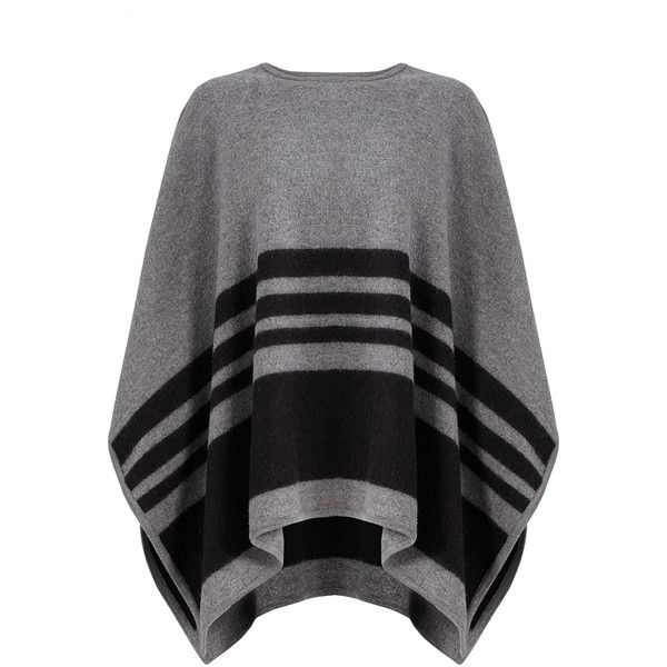 kate spade new york Grey Stripe Poncho (88 CAD) ❤ liked on Polyvore featuring outerwear, gray poncho, striped poncho, grey poncho, kate spade and style poncho