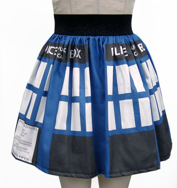 Printed Dr Who Inspired Full Skirt by GoChaseRabbits on Etsy, $54.99  I WANT THIS. Please Santa?