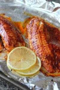 Image of Healthy, Gluten Free Smoked Paprika Fish with Sautéed Greens and Bell Pepper Medley Recipe