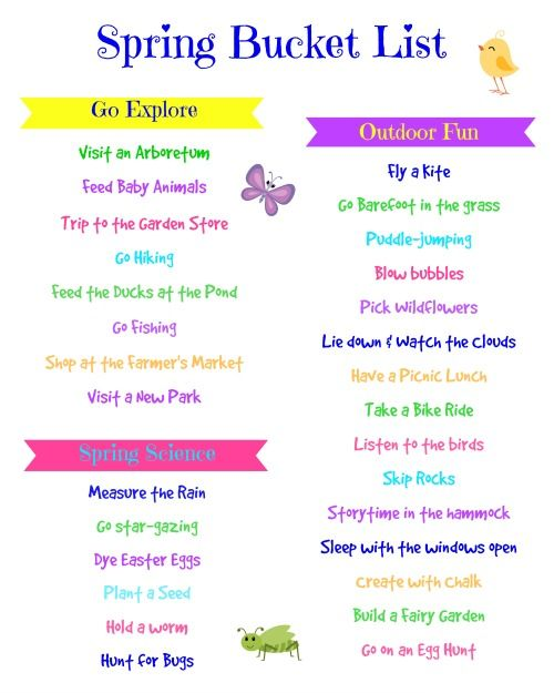 Preschool Spring Bucket List:  Fun activities to do in the spring with your preschooler