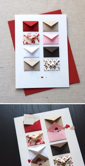 Tiny Envelopes Card with Blank Notes and Confetti.