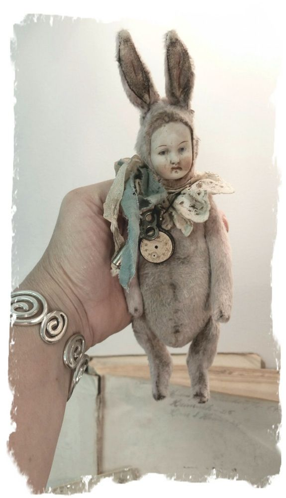 """Image of POPPET * DREAM - an Antique german Bisque Doll Head 8"""" PINK RABBIT  * By Whendi's Bear"""