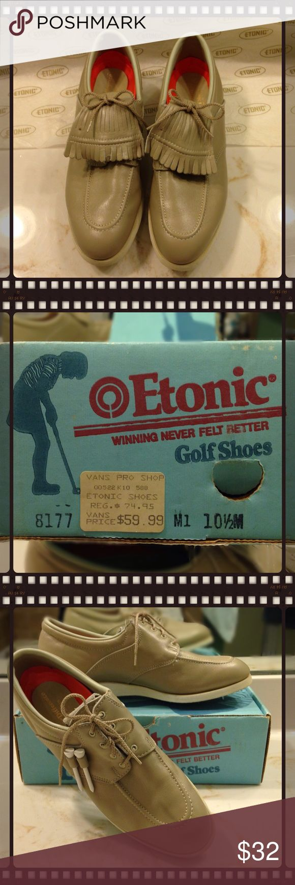 MENS GOLF SHOES by ETONIC  LEATHER KILTIES LACEUPS ⛳️💚ETONIC LEATHER GOLF SHOES 💚⛳️  NWOT, VINTAGE  Style: LACE-UP FRINGED KILTIES, Metal Spikes. Color: Tan. Size: MENS 10 1/2M. ETONIC Shoes Oxfords & Derbys