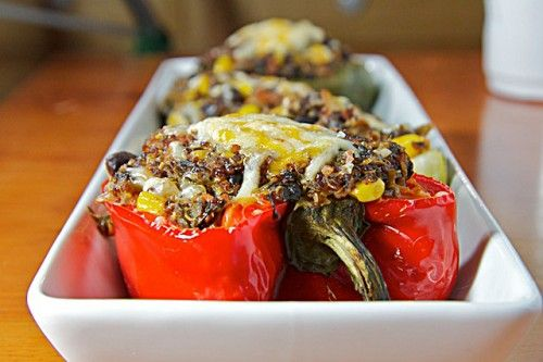 Spicy Quinoa Stuffed Peppers: Quinoastuf Peppers, Black Peppers, Black Beans, Vegetarian Stuffed Peppers, Spicy Quinoa Stuffed, Peppers Recipes, Spicy Quinoastuf, Quinoa Stuffed Peppers, Spicy Stuffed