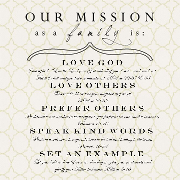 I will do a family mission statement this year.  Love this idea