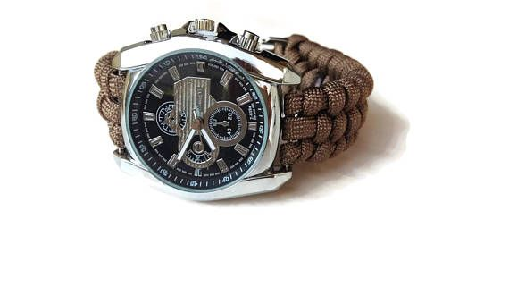 Brown watch men Steel watch Sport watch.  Paracord watch